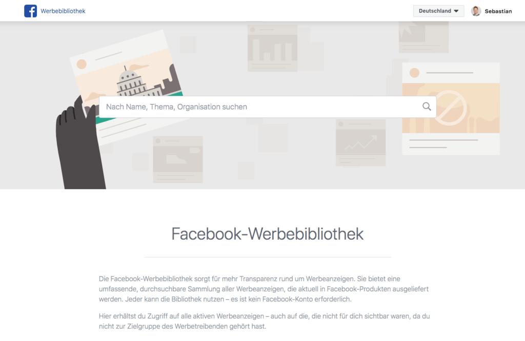 Facebook Werbebibliothek Startseite